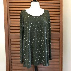 Lularoe plus size green printed long sleeve top 3X